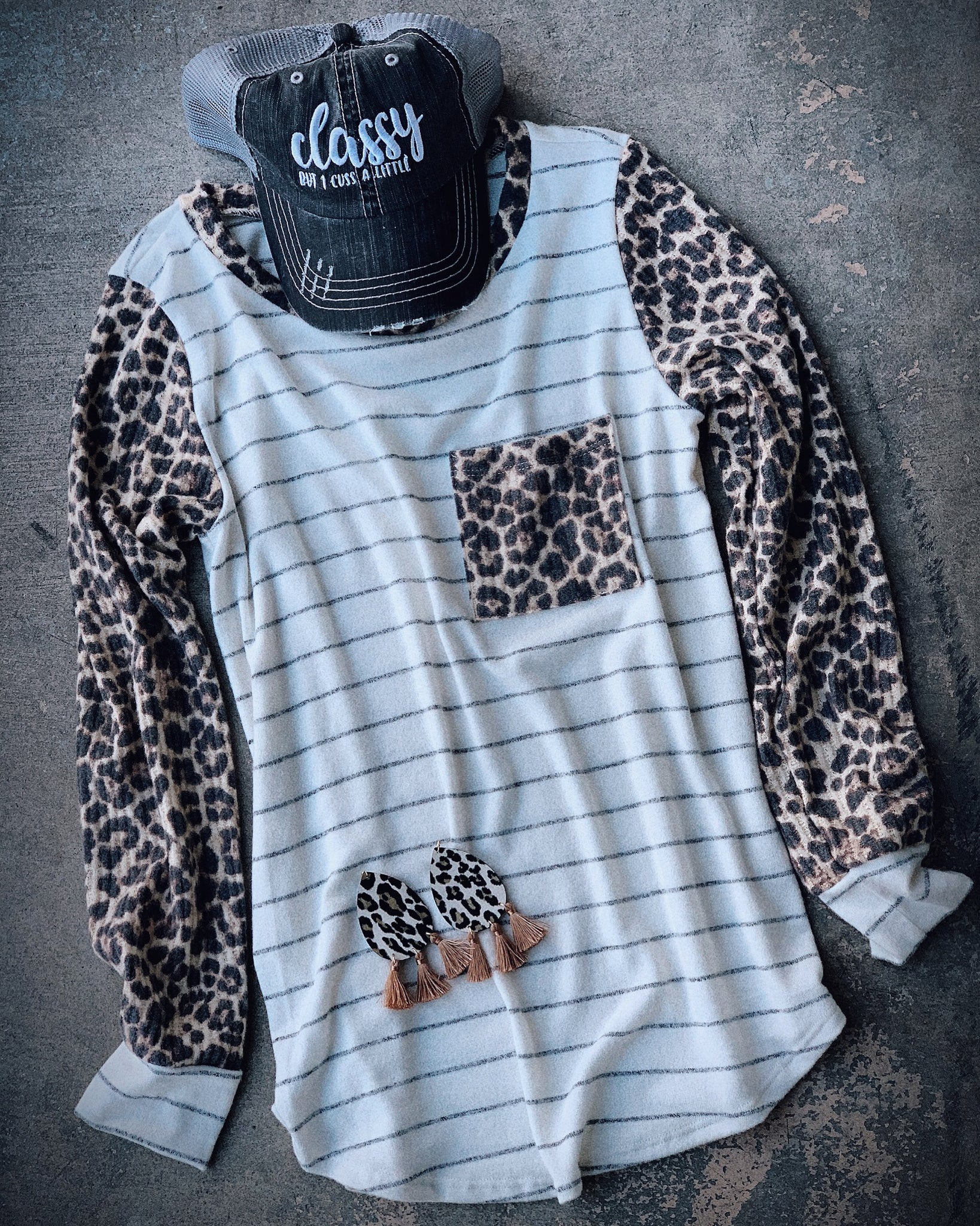 Nowhere To Hide Leopard Striped Top