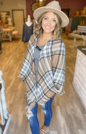DOORBUSTER Plaid Clasp Poncho {MULTIPLE COLORS} {FINAL SALE}