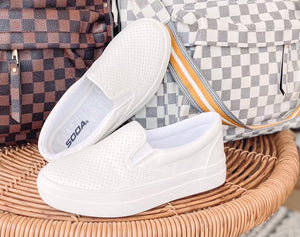 White Slip On Sneakers { SIZE DOWN HALF SIZE}