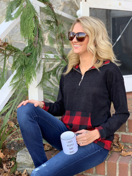 Different Views Plaid Zip Up