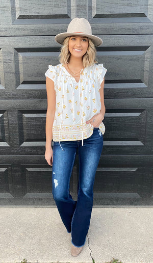 Golden Moments Floral Top