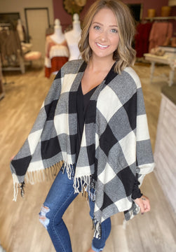 DOORBUSTER Trending Now Buffalo Check Poncho {MULTIPLE COLORS} {FINAL SALE}