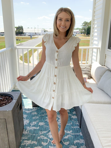 Sweet Sippin' Swiss Dot Dress {IVORY ONLY }