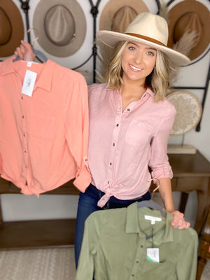 Basic Button Up Top {MULTIPLE COLORS}