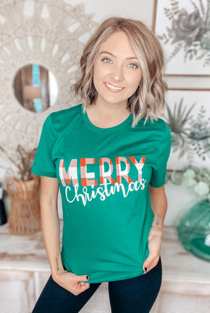 Plaid Merry Christmas Tee