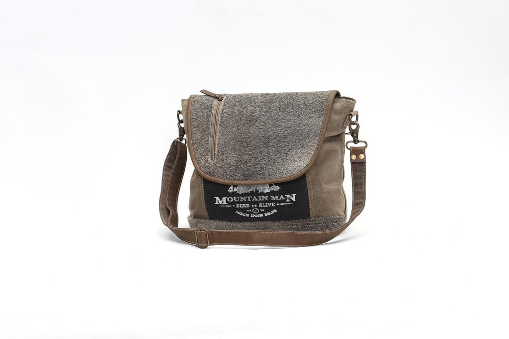 HAIR-ON FLAP OVER MESSENGER BAG