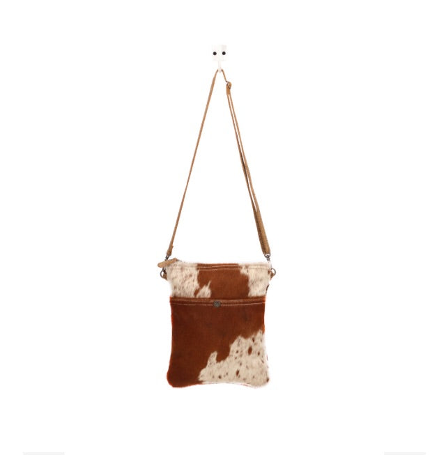 White and Cocoa Hair On CrossBody Bag