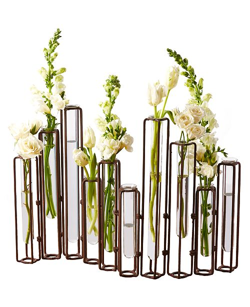 Rust Hinged Tube Flower Vases