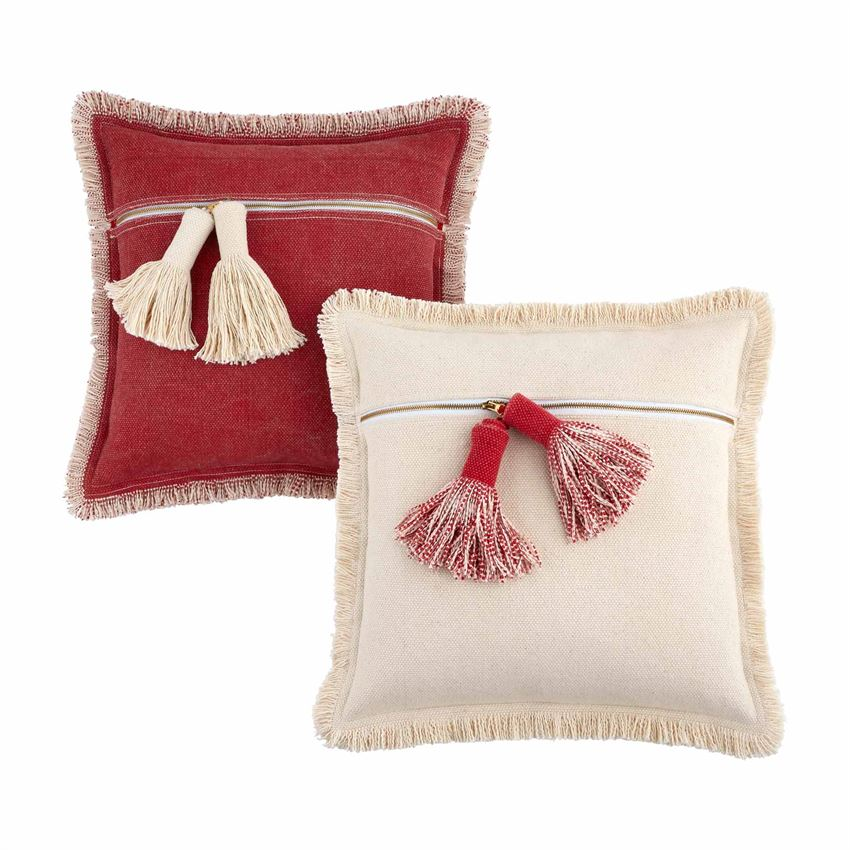 Red & White Dhurrie Pillows - 2 Styles
