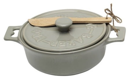 Stoneware Brie Baker with Wood Spreader - 2 Colors