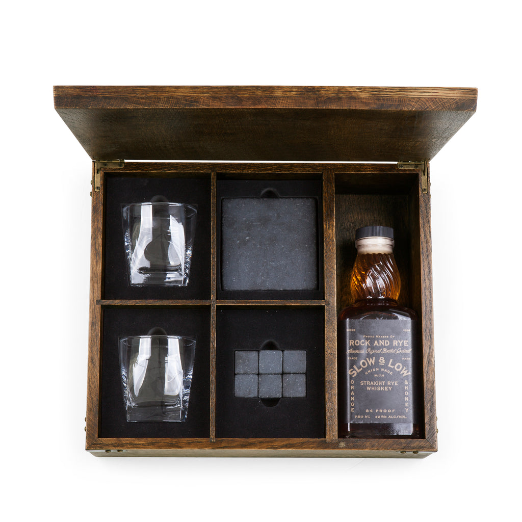 Whiskey Box - Oak Gift Set