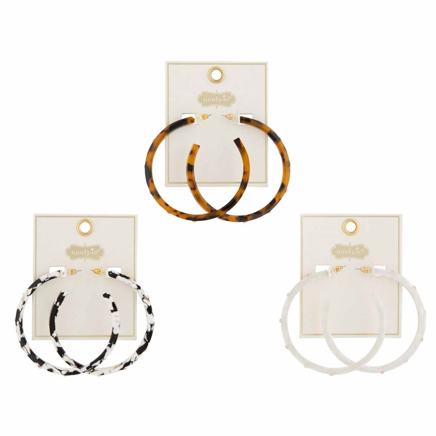 Studded Resin Hoop Earrings - 3 Styles