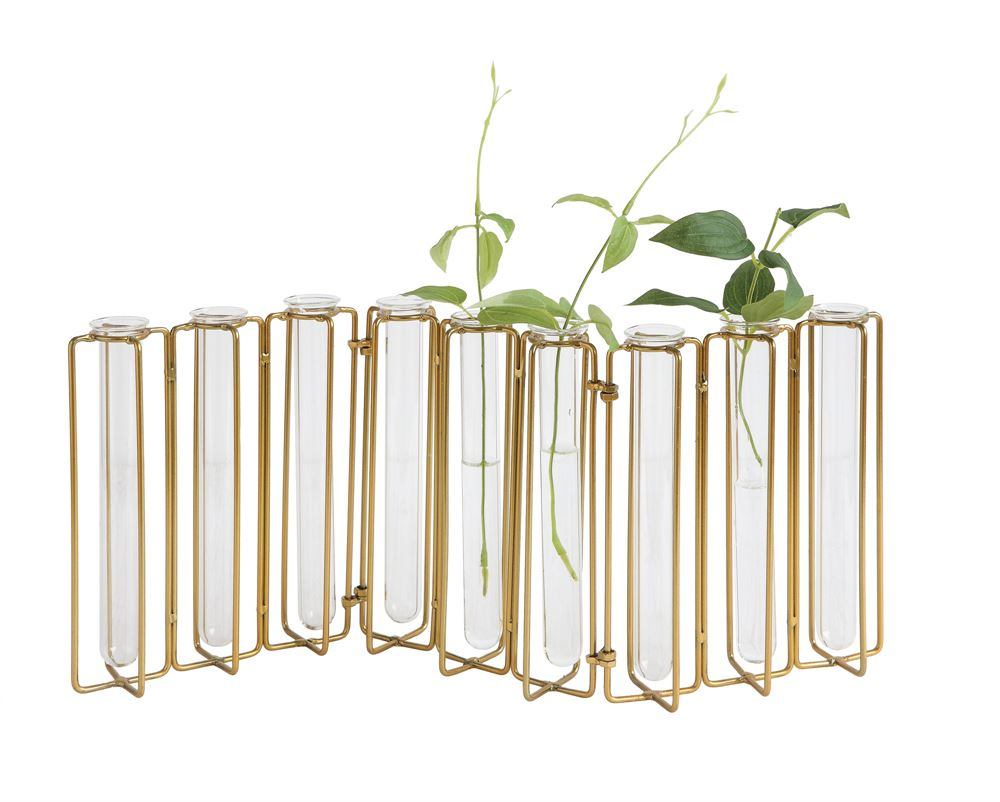 Metal & Glass Jointed Bud Vases