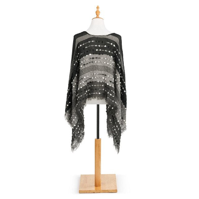 Textured Poncho - Black Mix