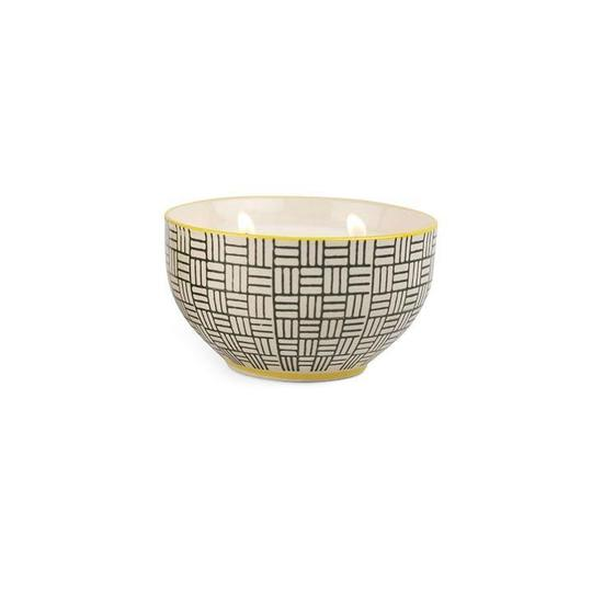 Boheme Hand Painted Bowl with Candle - Black Coconut & Amber