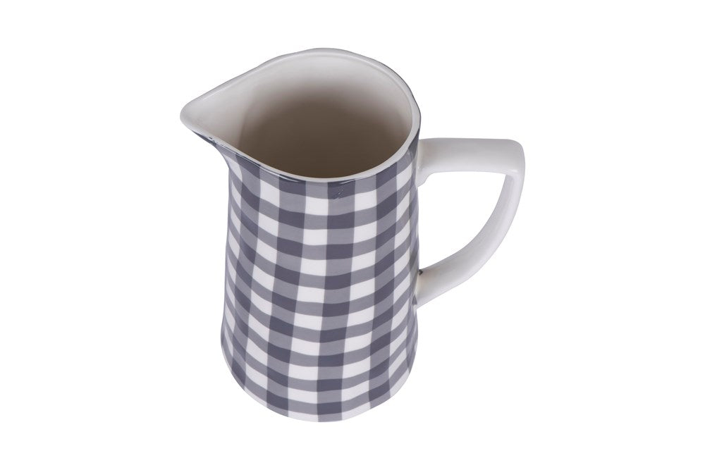 Stoneware Pitcher -  Black Gingham