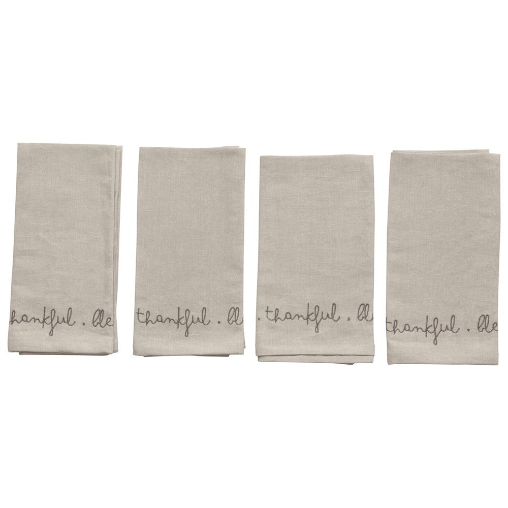Grey Embroidered Napkins - Set of 4