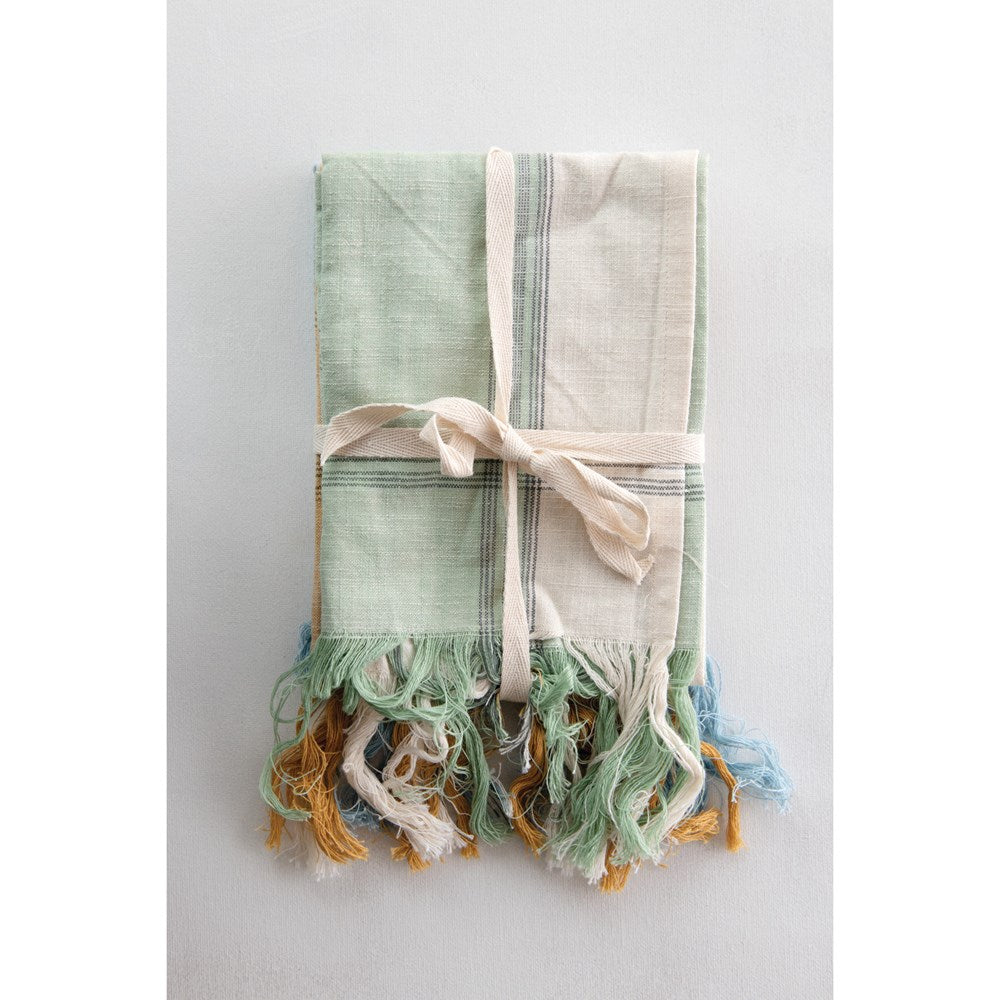 Cotton Tea Towels with Fringe