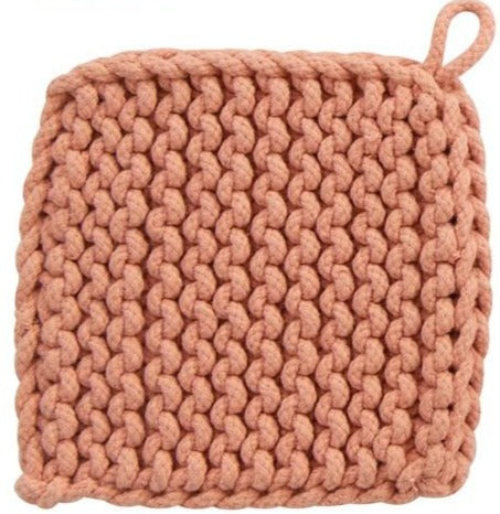 Cotton Crocheted Pot Holder - Four Colors
