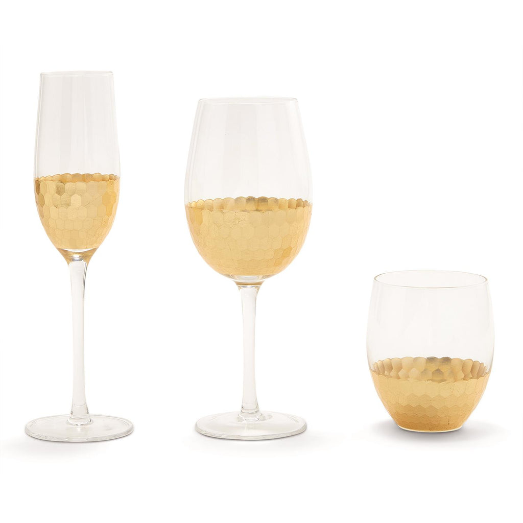 Gold Faceted Glasses - 3 Styles - Set of 2