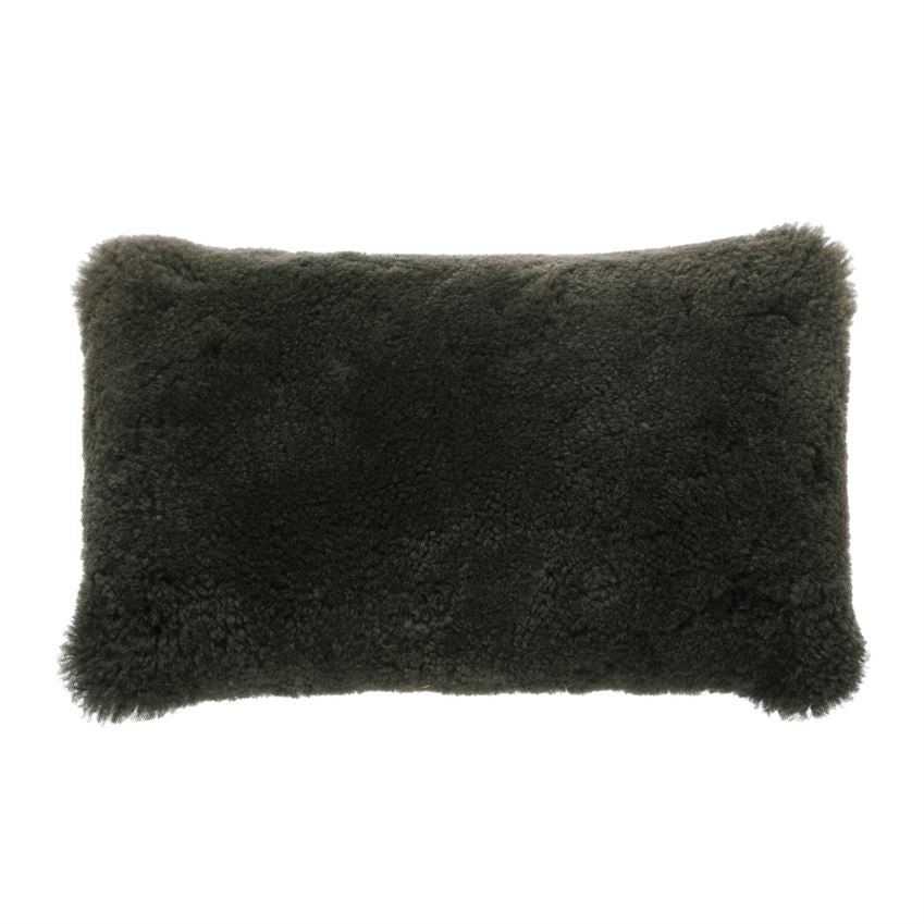 New Zealand Lamb Fur Lumbar Pillow - Charcoal