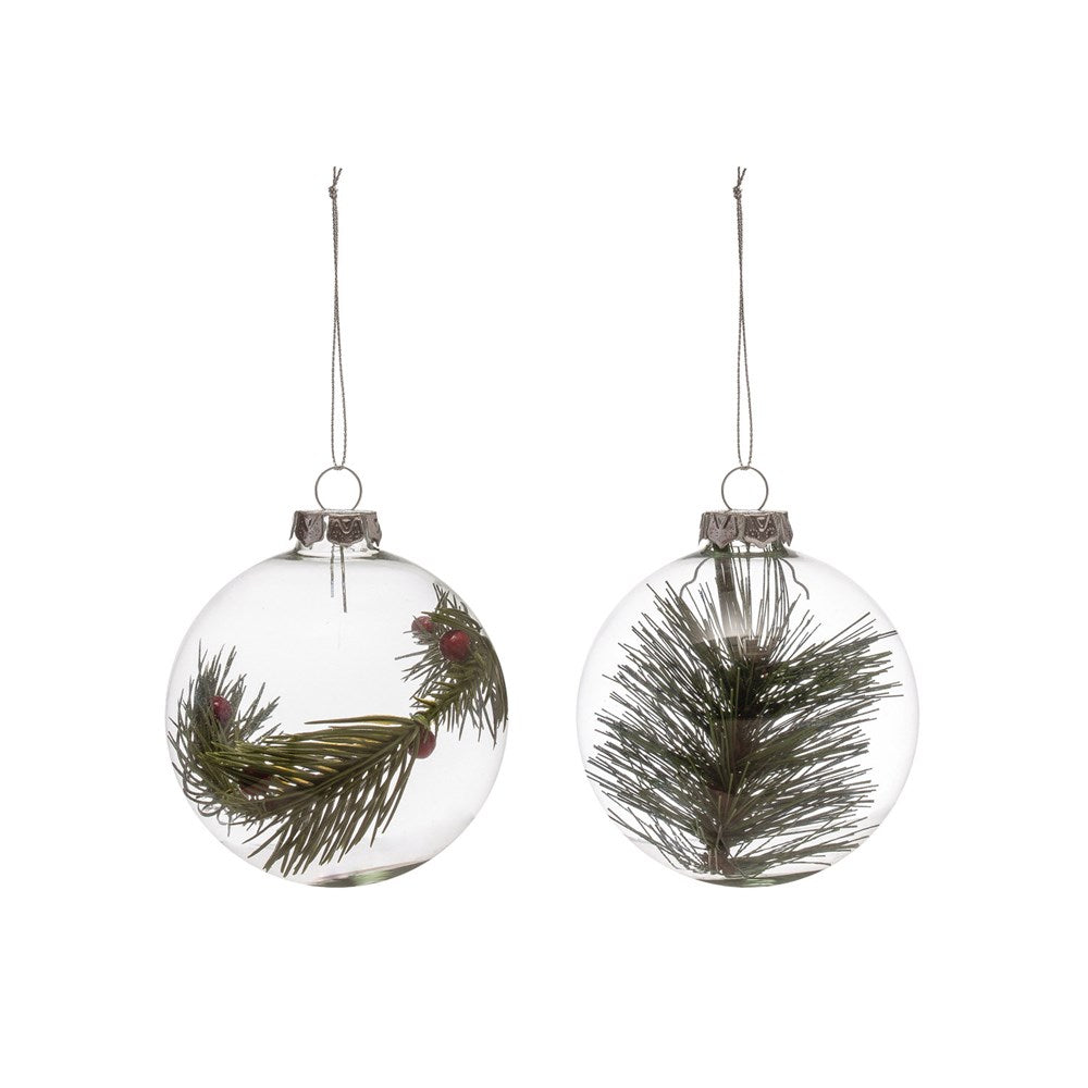 Glass Ornament with Greenery - 2 Styles