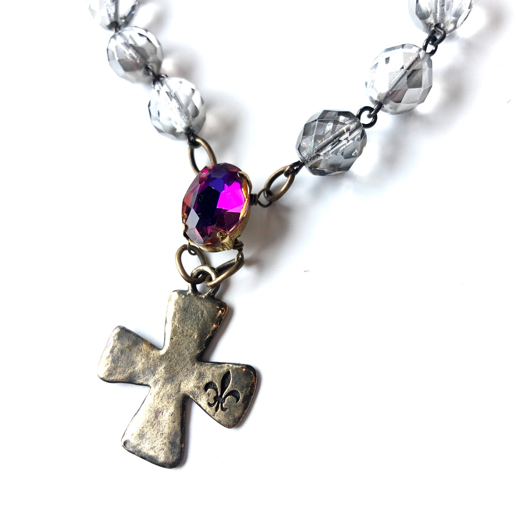Fleur de Lis Cross with Crystal Beads