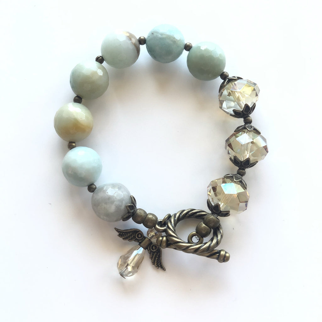 Stone & Gem Bracelet with Angel Charm
