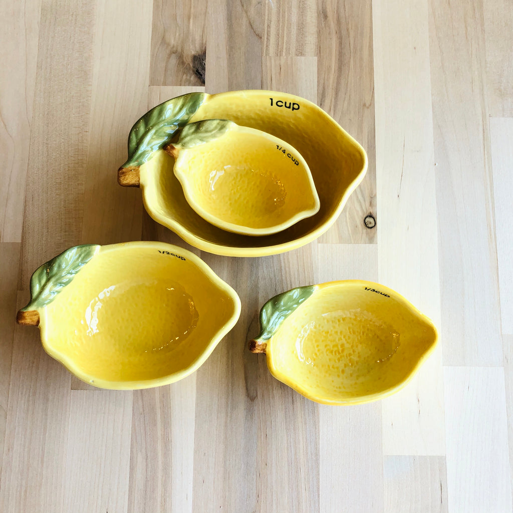 Stoneware Lemon Measuring Cups, Set of 4