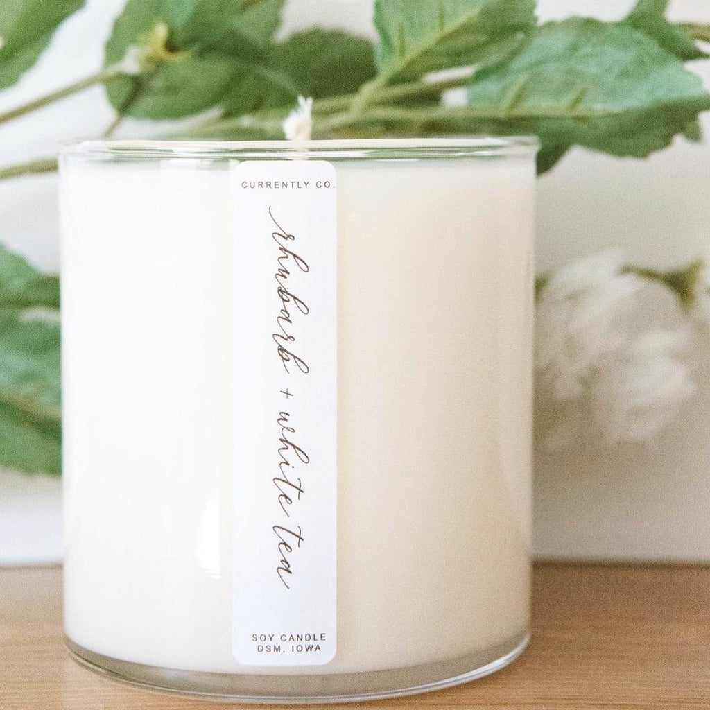 Rhubarb & White Tea Candle by Currently Co.
