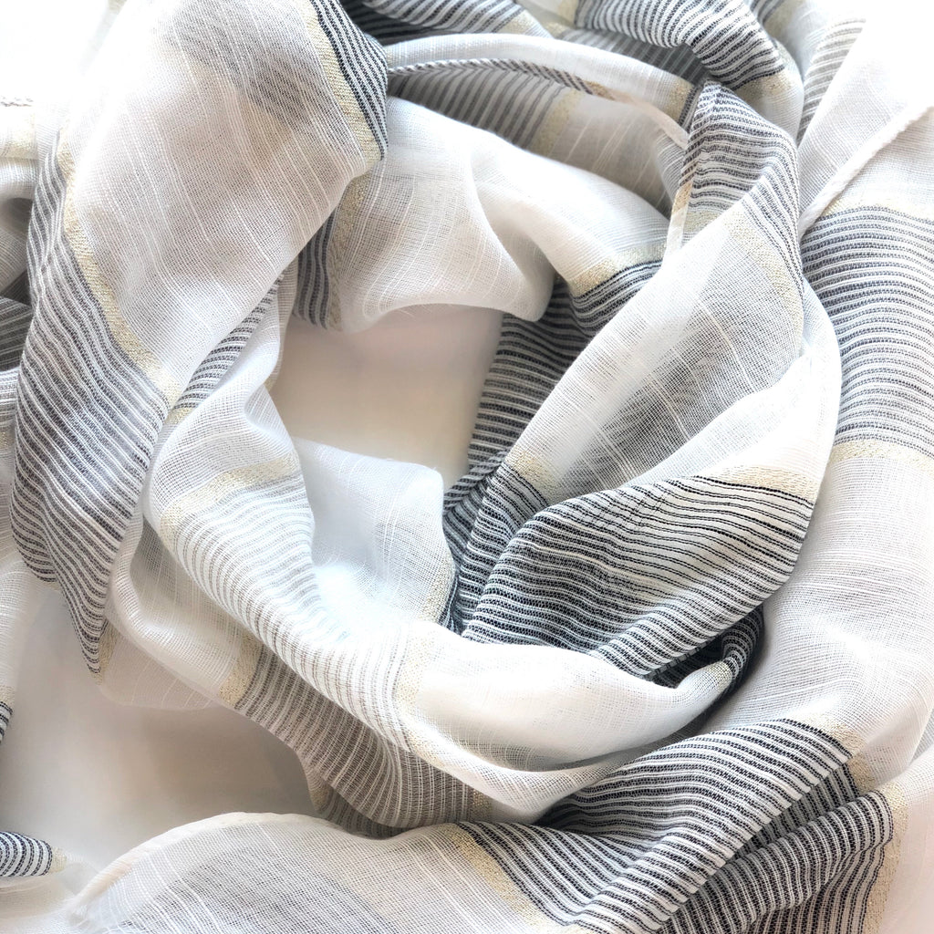 White & Black Shimmer Stripe Scarf