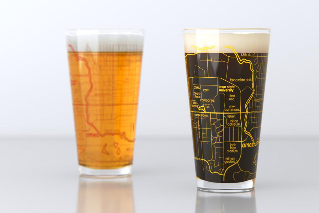 College Town Map Pint Glass - Set of 2