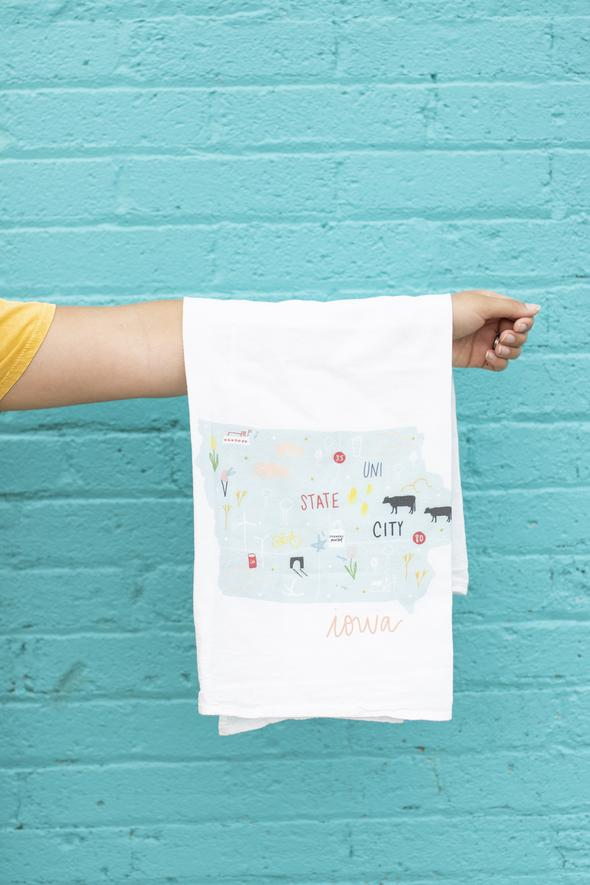 Iowa Flour Sack Towel by Doe A Deer