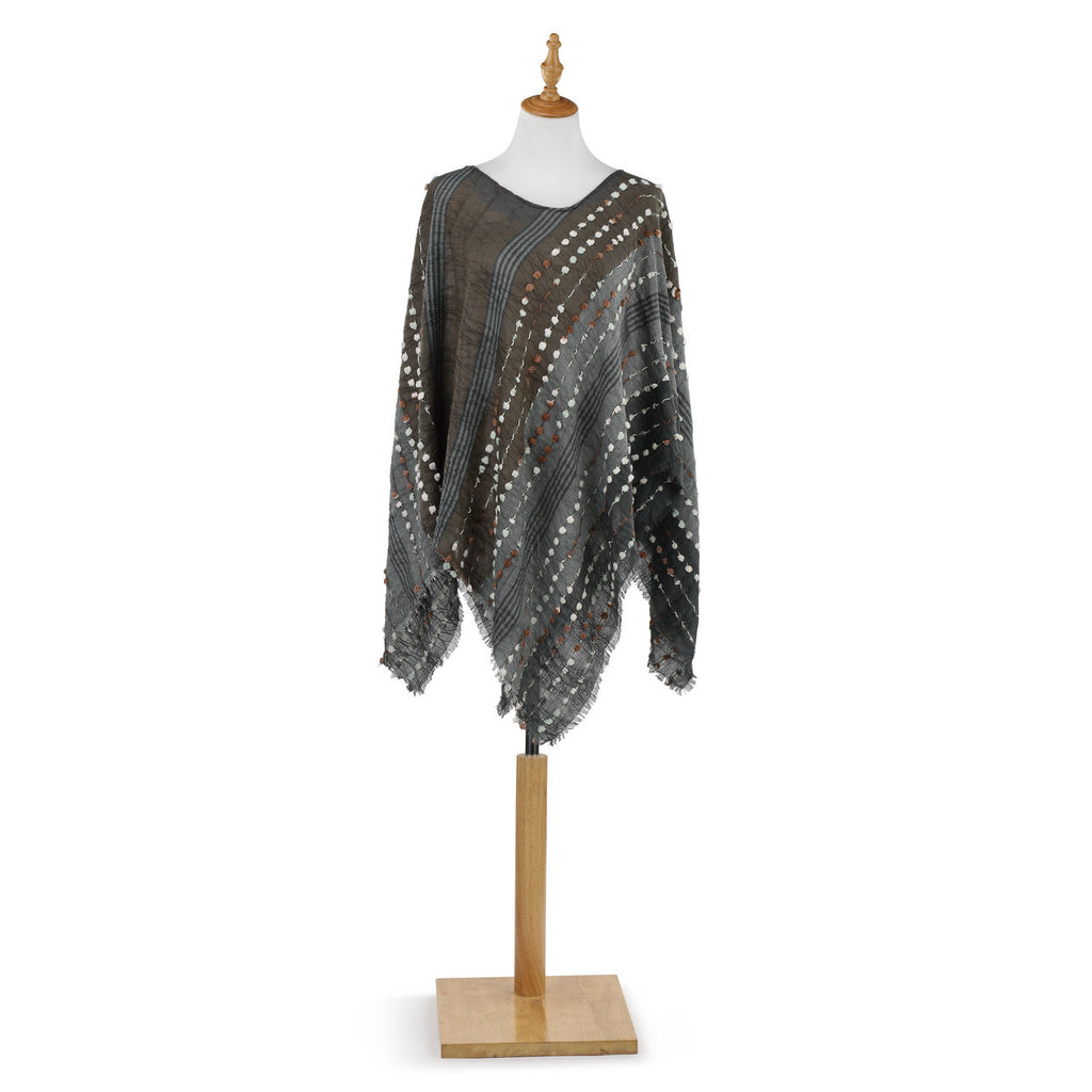 Textured Poncho - Grey Mix