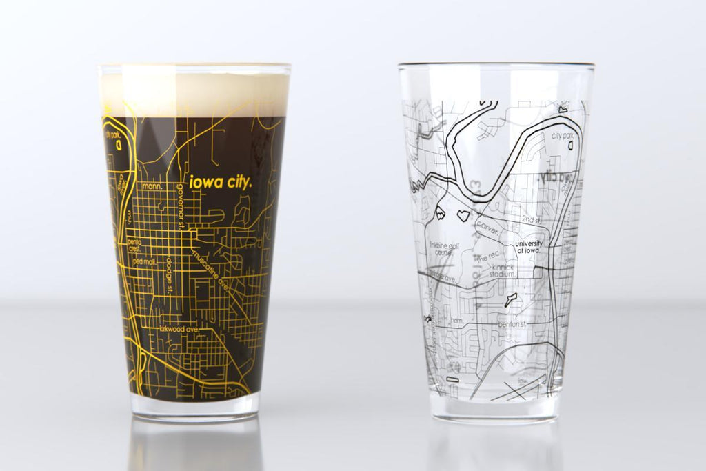 College Town Map Pint Glass Pair - 16 oz