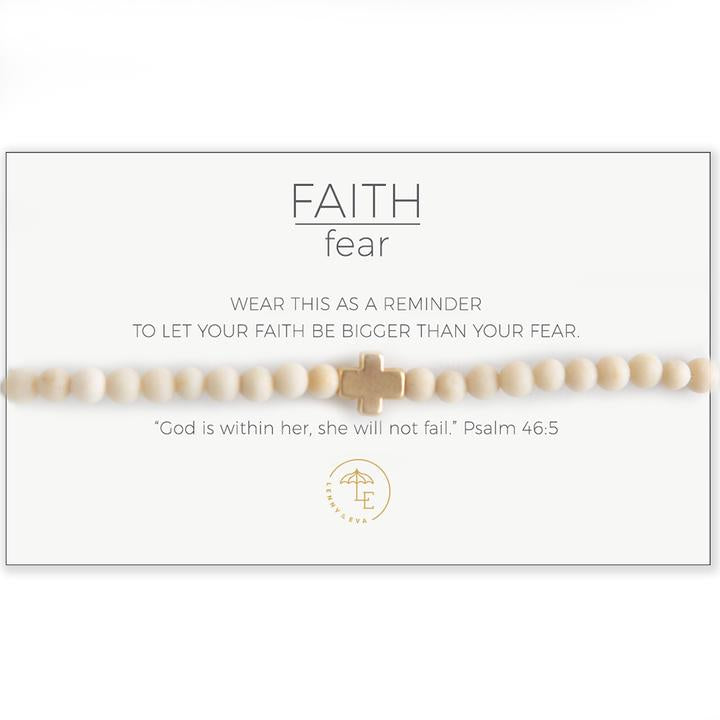 Faith Over Fear Cross Stretch Bracelet - Assorted Styles