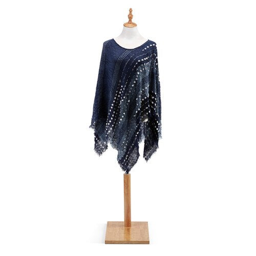 Textured Poncho - Navy Mix