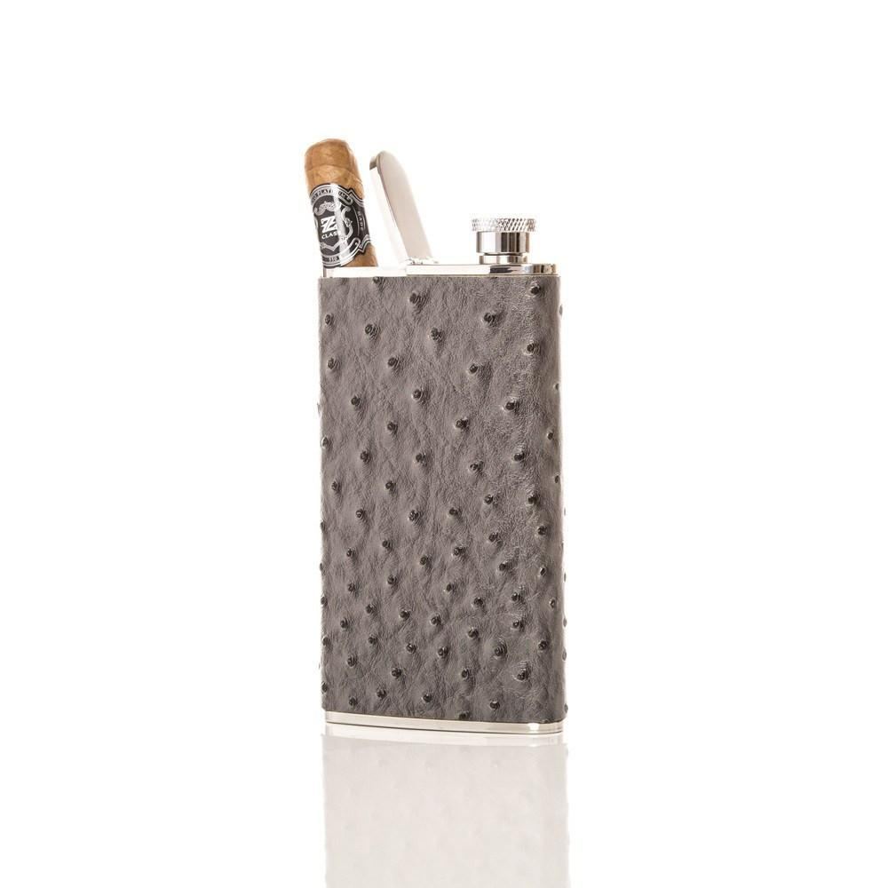Wingman Flask & Cigar Holder - Grey Ostrich