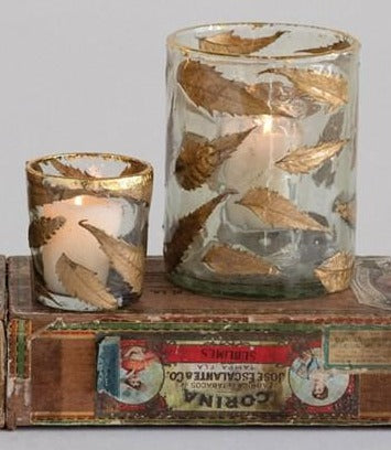 Gold Leaf Glass Votive - 2 Sizes