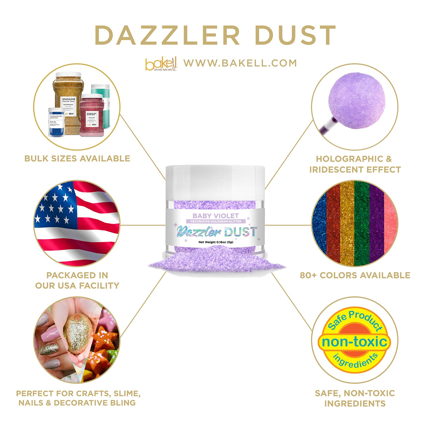 Holographic Decorative Glitter for Baking, Cosmetics & More   Bakell.com