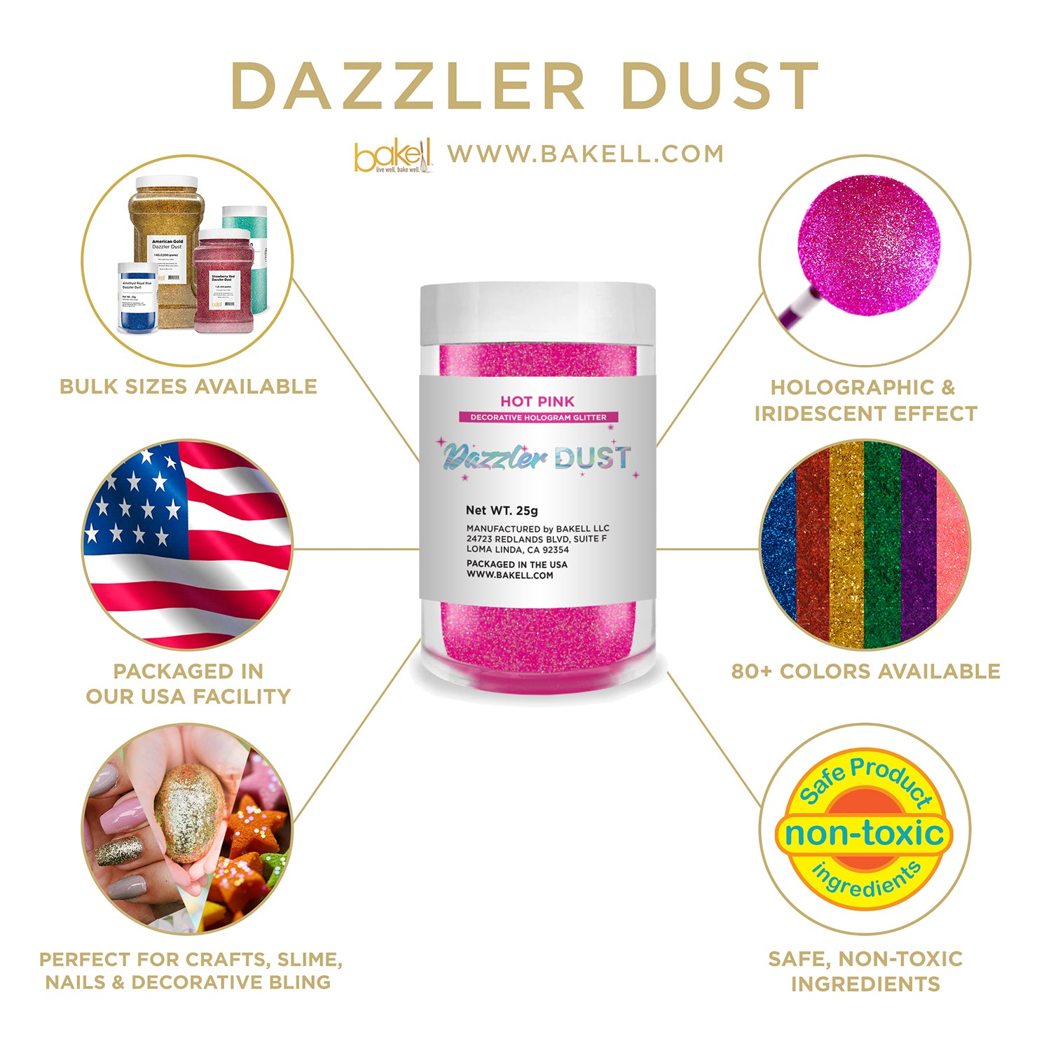 Dazzler Dust   Non Toxic Holographic Decorating & Craft Glitter   Bakell.com