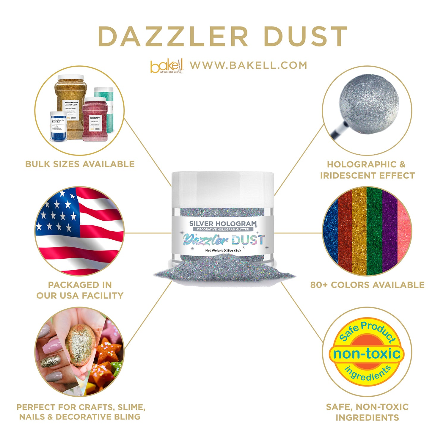 Holographic Decorative Glitter for Baking, Cosmetics & More | Bakell.com