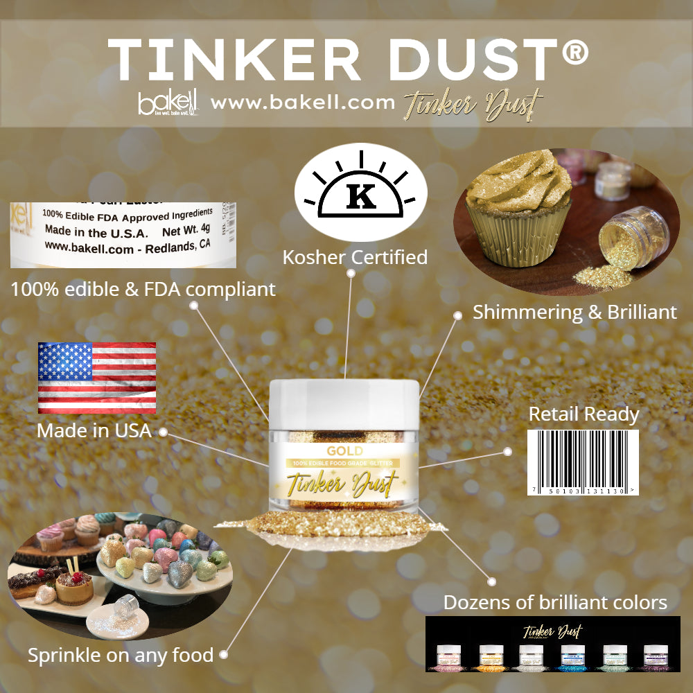 Tinker Dust Edible Glitter | 100% Edible | FDA Approved Edible Glitter | Kosher Certified | Made in the USA | Bakell.com