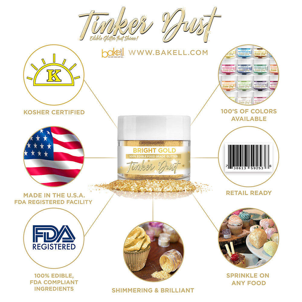 Bright Gold Edible Glitter Tinker Dust | FDA Compliant | Kosher Certified | Made in the USA | Bakell.com