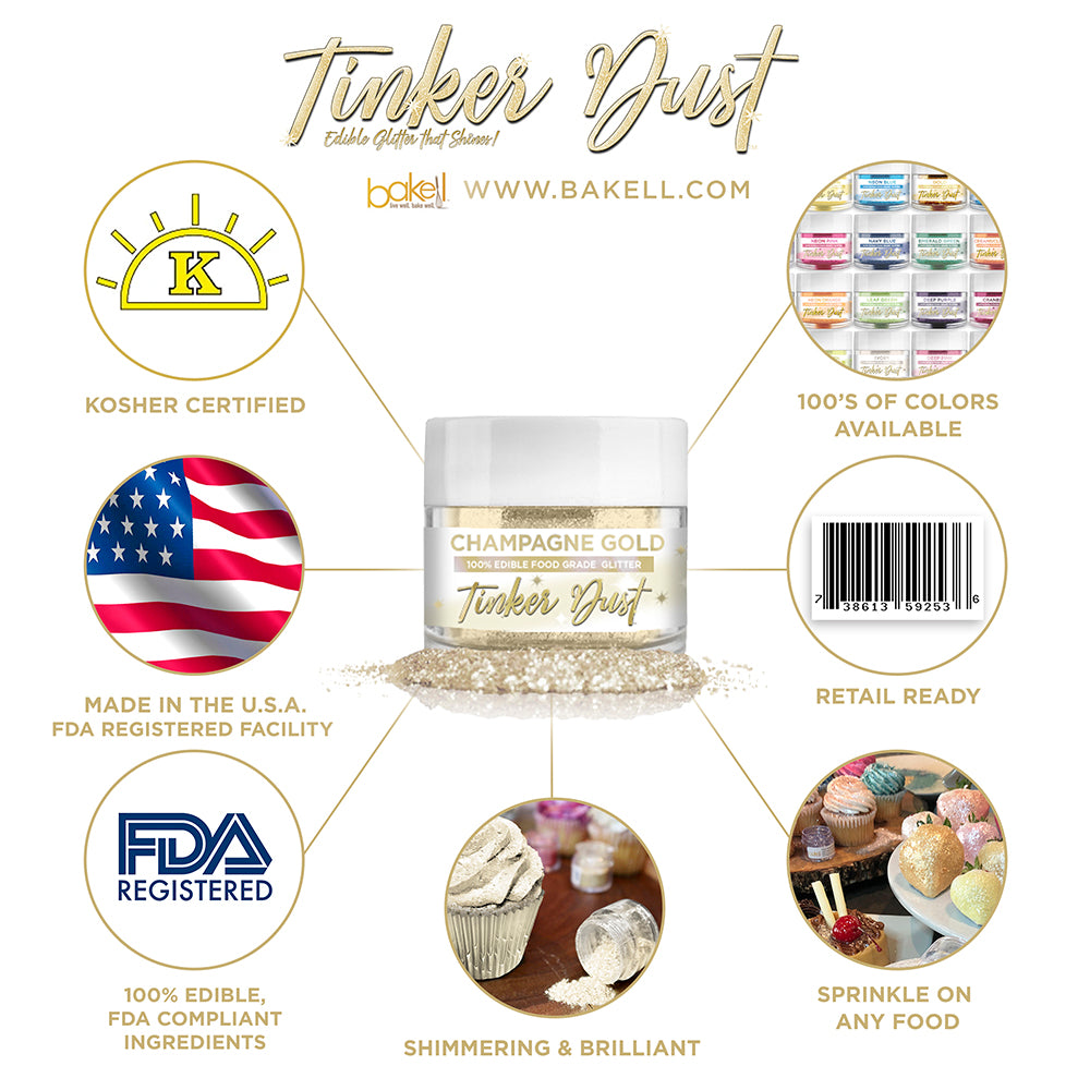 Champagne Gold Edible Glitter Tinker Dust | FDA Compliant | Kosher Certified | Made in the USA | Bakell.com
