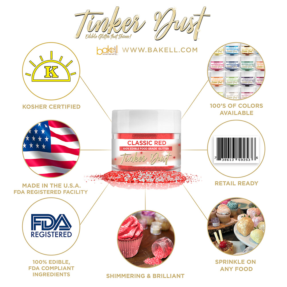 Classic Red Edible Glitter Tinker Dust   FDA Compliant   Kosher Certified   Made in the USA   Bakell.com