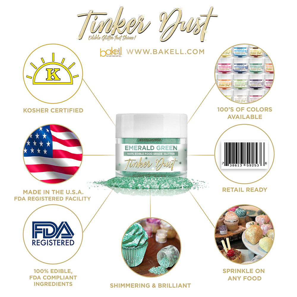 Emerald Green Edible Glitter Tinker Dust | FDA Compliant | Kosher Certified | Made in the USA | Bakell.com