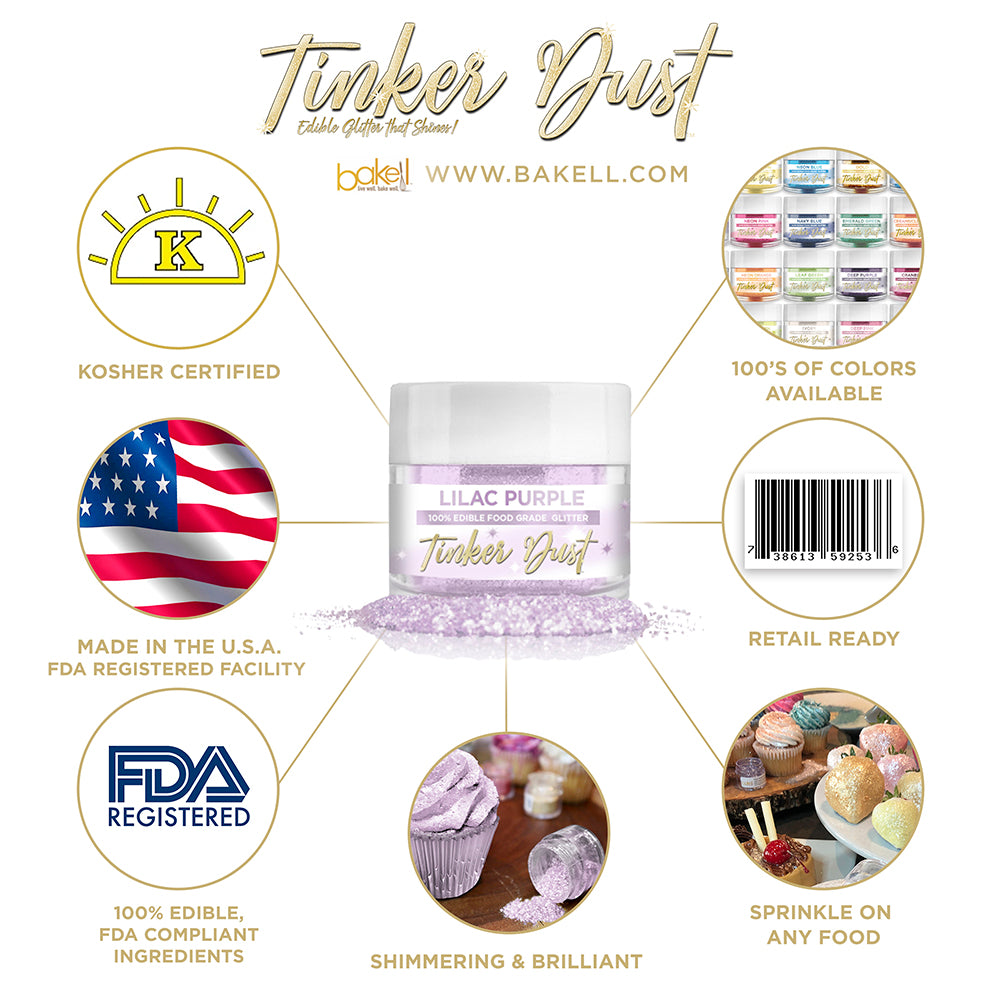 Lilac Purple Edible Glitter Tinker Dust | FDA Compliant | Kosher Certified | Made in the USA | Bakell.com