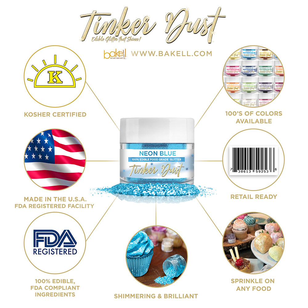 Neon Blue Edible Glitter Tinker Dust | FDA Compliant | Kosher Certified | Made in the USA | Bakell.com