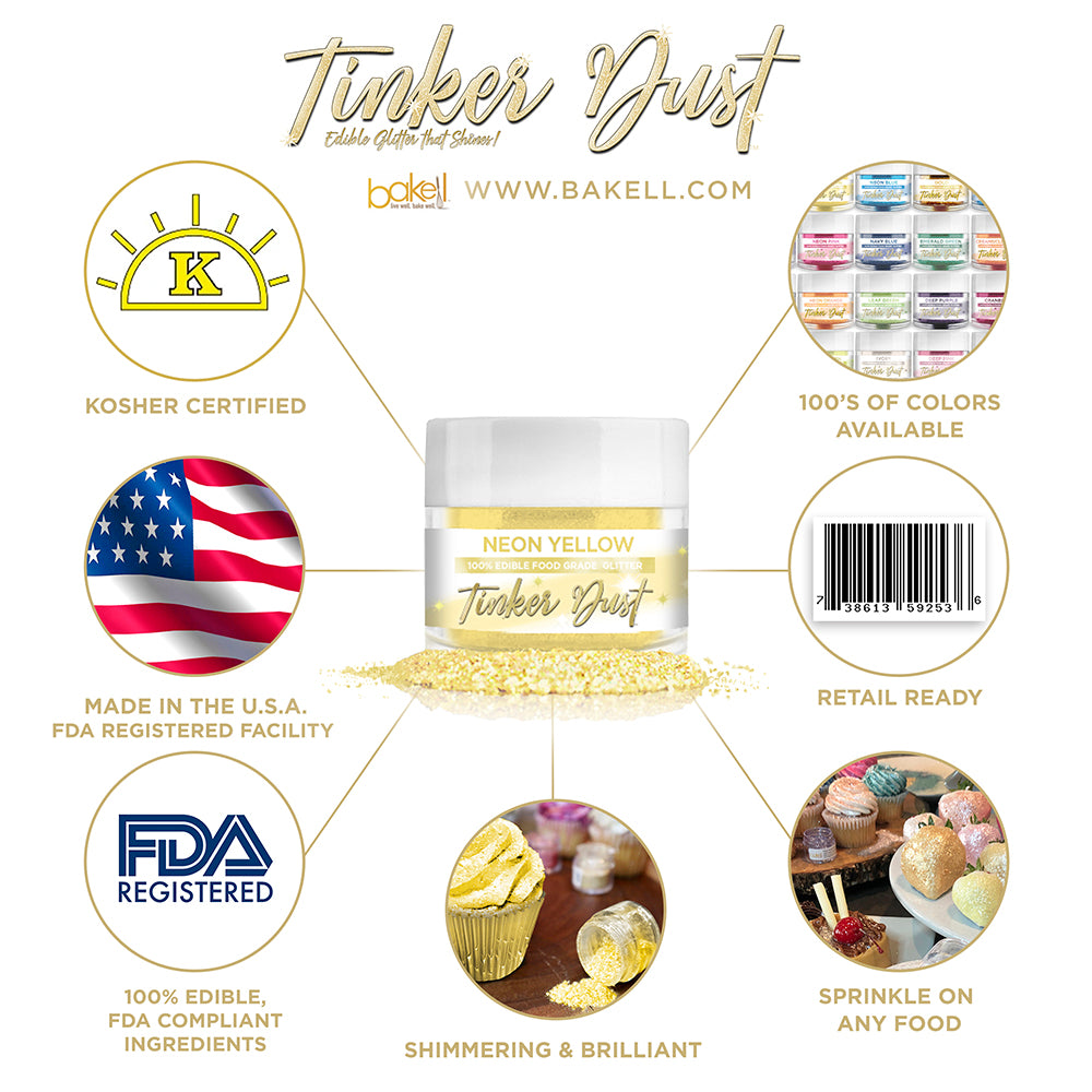 Neon Yellow Edible Glitter Tinker Dust | FDA Compliant | Kosher Certified | Made in the USA | Bakell.com